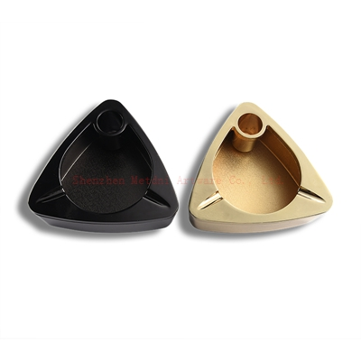 Black and gold triangle ashtray