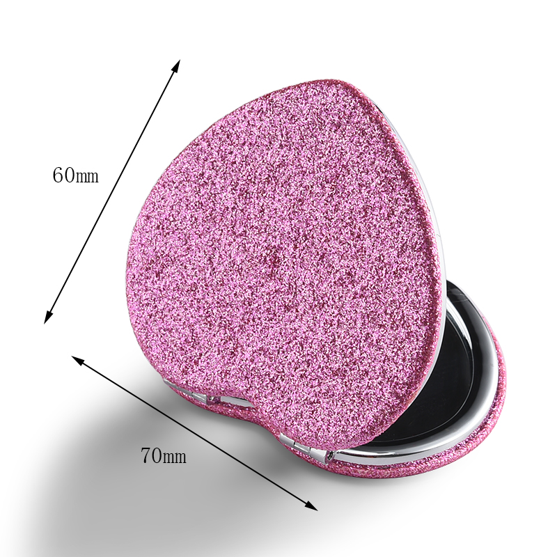 Heart-shaped pink double-sided makeup mirror